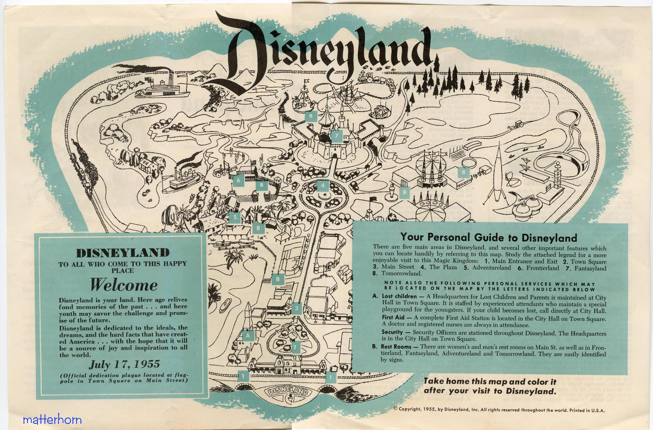 Disneyland 1955 Map stuff from the park: T...