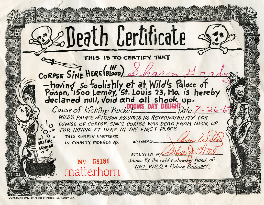 Corner cafe images death certificate palace of poison in st louis missouri a theme restaurant serving themed food and once you finished your dinner you received the death certificate 1betcityfo Image collections