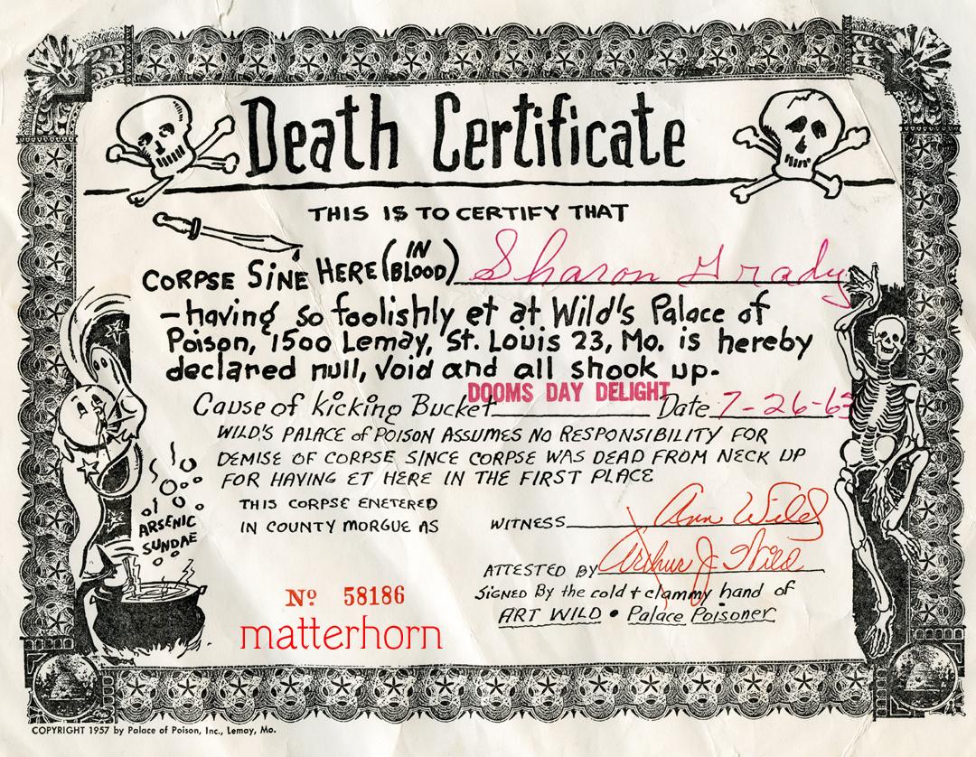 Corner Cafe Images Death Certificate